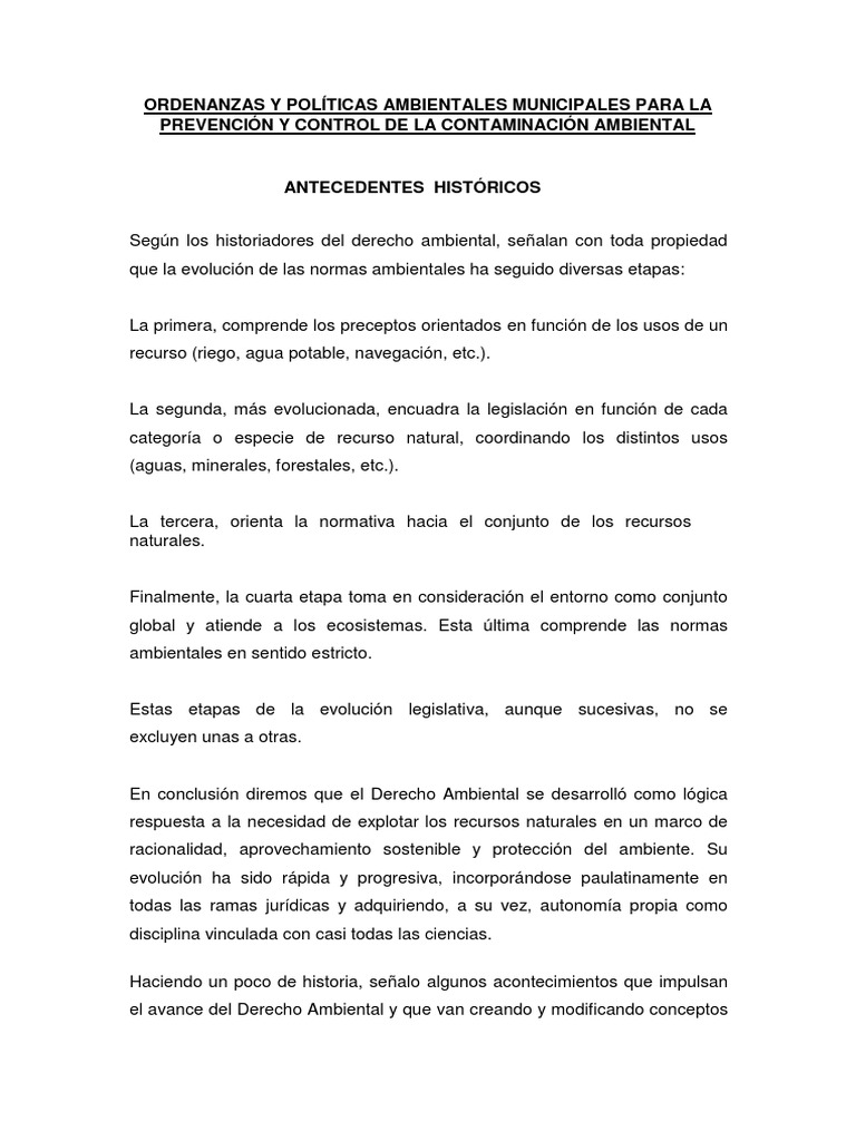 Ordenanzas y Políticas Ambientales Municipales Para La Prevención ...