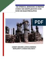 Obtencion de Etanol Anhidro a Partir de Un Proceso de Destilacion Con Adicion de Electrolitos