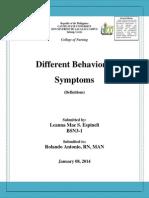 Some Definitions in Psychiatric Nursing