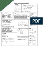Reference Sheet for Algebra/Geometry