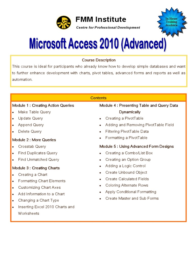 Access 2010 Advanced Databases Software