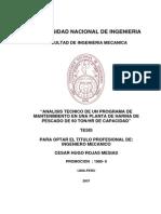 Analisis Tecnico de Un Programa de Mantenimiento Planta de Harina de Pescado 60 TN