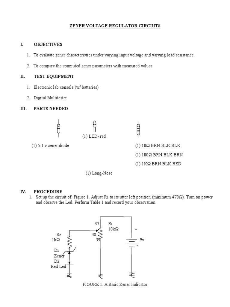 Zener Voltage Regulator Circuits   Voltage   Diode