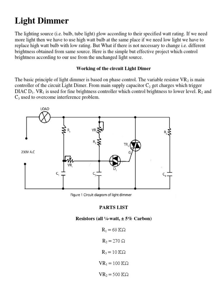 Variable Resistor Dimmer Light Circuit Wiring Diagram And Ebooks Capacitor Rh Scribd Com