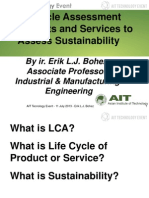Life Cycle Assessment of Products and Services to Assess Sustainability - Erik Bohez