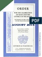 ORDO 2013/2014 Order for celebrations in August