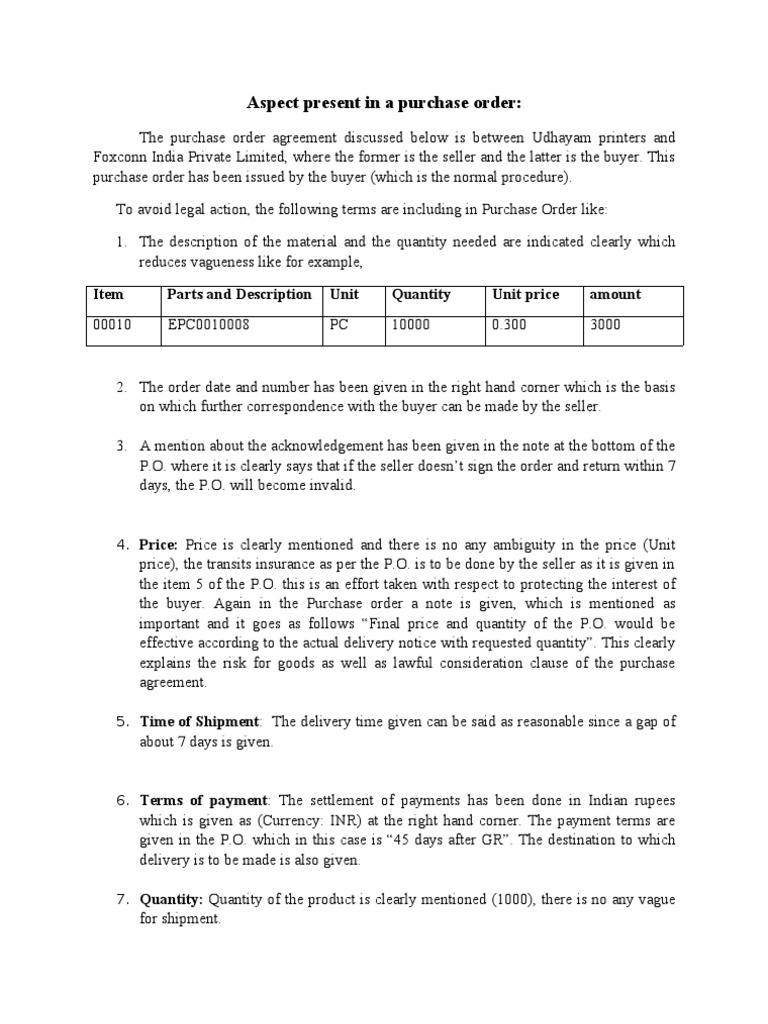 Aspect Present In A Purchase Order Prices Sales