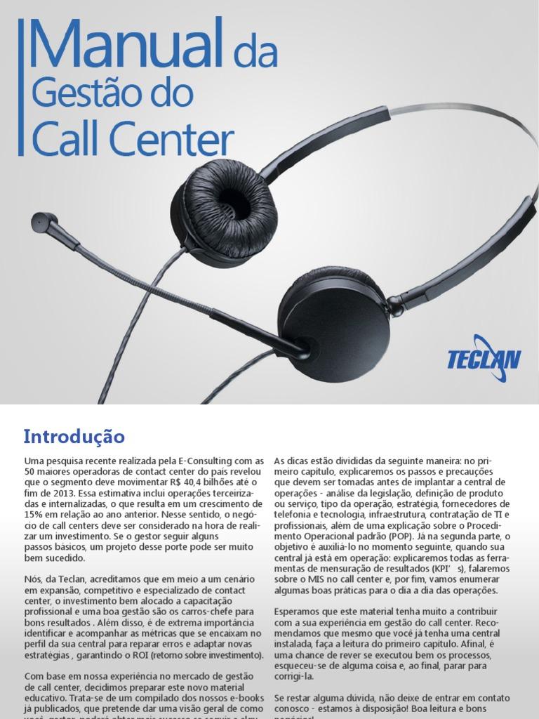 Manual Da Gestao Do Call Center Centro De Atendimento