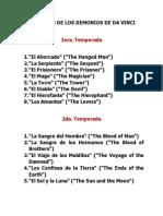 Capítulos de Los Demonios de Da Vinci