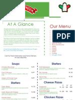 Patsa and Pizza Menu
