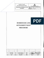 Hydrostatic and Settlement Tests Procedure
