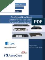 LTRT-40134 Microsoft Lync Server 2013 - Enhanced Gateway Configuration Note