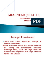MBA - I Trimester B E - Foreign Investment - 6.8.14