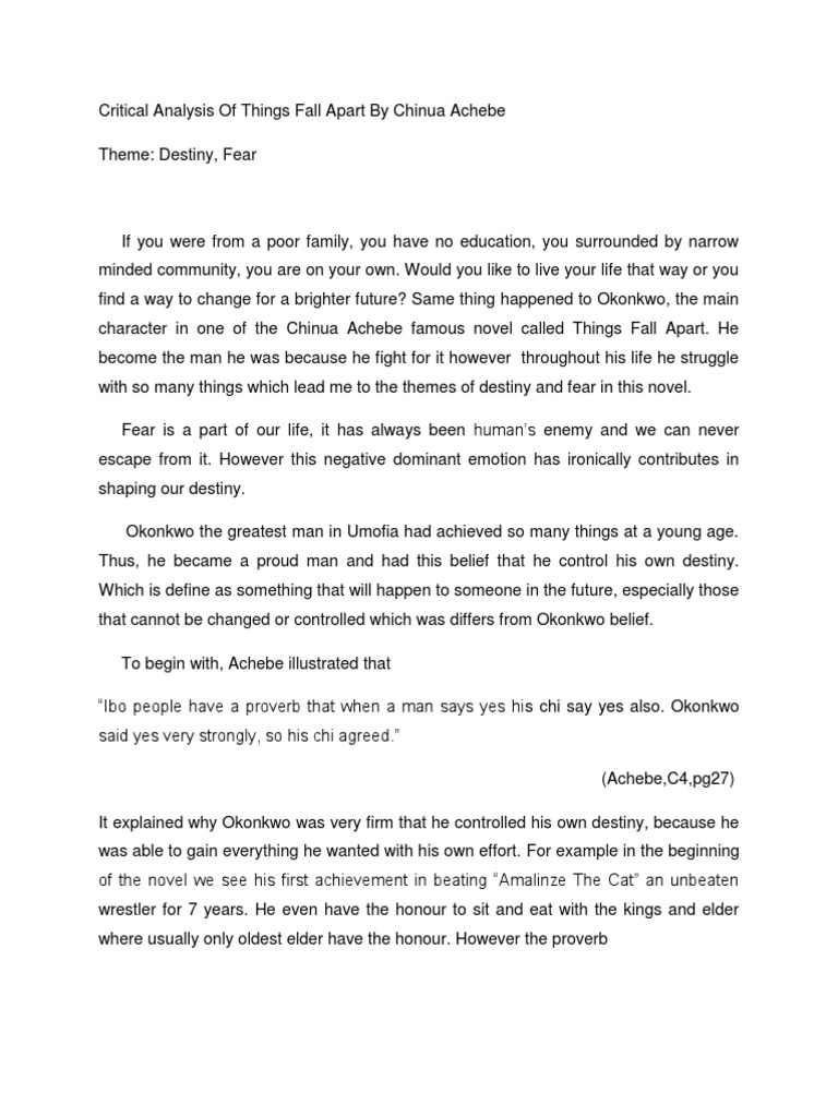 chinua achebe critical essay