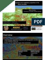 Links Between Topography and Vegetation Properties in the Sierra Nevadas
