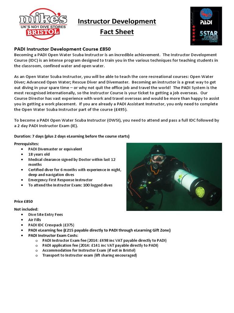 instructor development factsheet scuba diving underwater diving rh scribd com padi instructor manual 2016 PADI Instructor Info