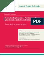 Programa Jornadas Regionales de Feminismos Estado Agosto 2014