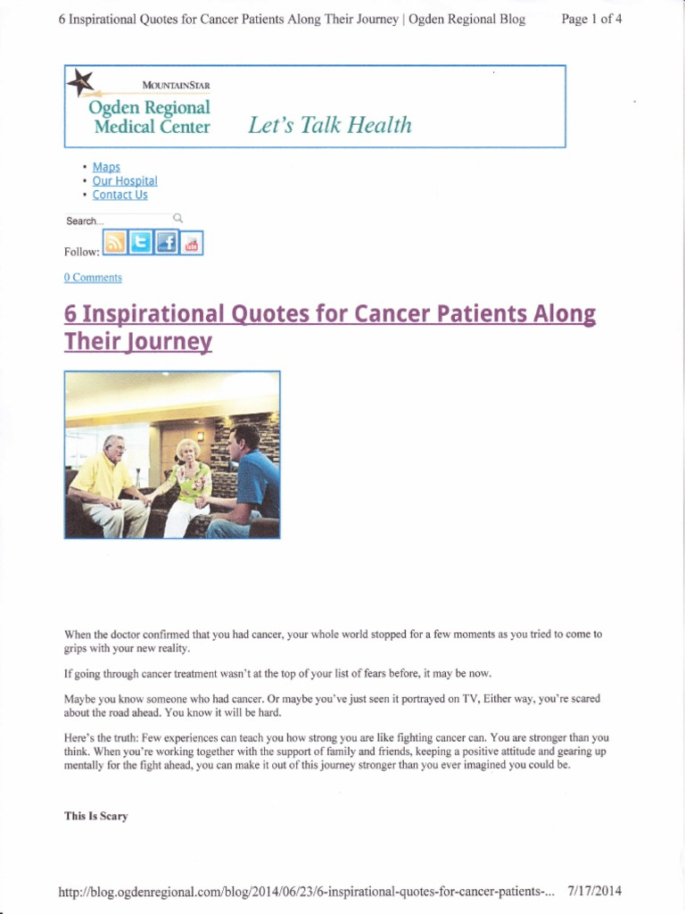 Quotes For Cancer Patients Inspiration Quote Cancer Patients  Cancer  Wellness