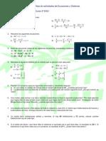 Hoja de actividades de ecuaciones y sistemas (3º ESO)