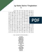 Teka Silang Kata Sains Tingkatan 1 2014