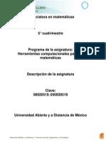 Unidad 0. Descripcion de La Asignatura HCMatema Ticas