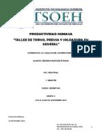 PRODUCTIVIDAD HUMANA EN TALLER MECANICO DE TORNO PRENSA Y SOLDADURA .pdf