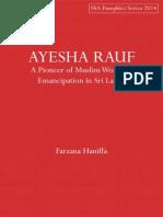 AYESHA RAUF- A Pioneer of Muslim Women's Emancipation in Sri Lanka
