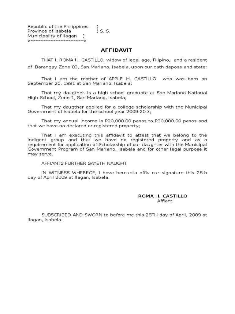 Sample affidavit for scholarship altavistaventures Image collections