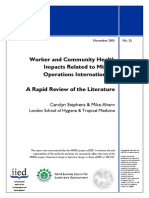 Workers and Community Health Impacts Related to Mining Operations Internationally