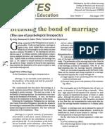 Breaking bond of Marriage
