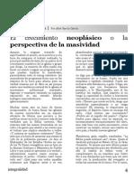 El Crecimiento Neoplásico o La Perspectiva de La Masividad