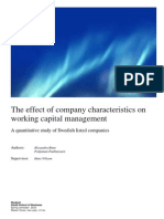 The Effect of Company Characteristics on WCM-swedish Listed Companies