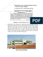 Animal Biotech. Centre NDVSU- Admission Highlights