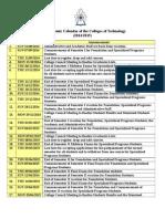 The Academic Calendar 14-15