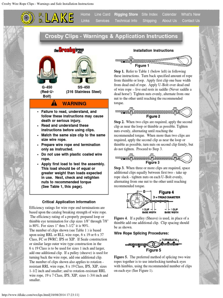 Crosby Wire Rope Clips - Warnings and Safe Installation Instructions ...