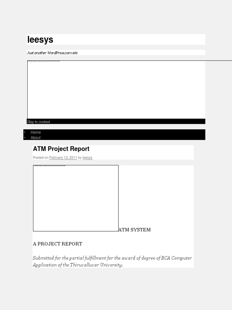 ATM Project Report Leesys   Software Prototyping   Software Testing
