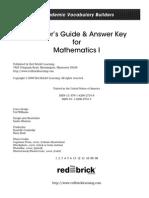 Academic Vocabulary Builder – Mathematics 1 Teachers Guide