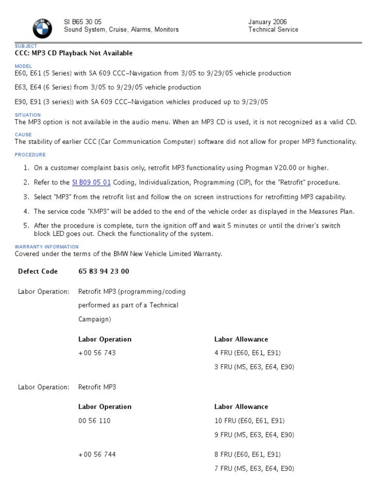 Activating MP3 BMW E60, E90, E63 | Mp3 | Limousine