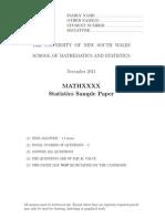 Statistics Sample Past Paper 33