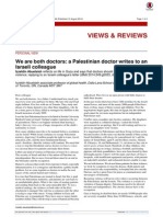 A Palestinian Doctor Writes to an Israeli Colleague