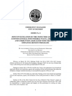 Detroit EM - Order No 08 - Joint Investigation by the Inspector General and Auditor General into Possible Waste, Abuse, Fraud, and Corruption Associated with the City's Employee Benefits Programs
