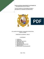 Syllabus de Sintesis y Analisis de Procesos 2014-II