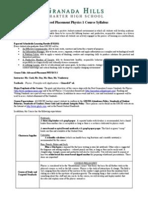 ap physics 1 course syllabus 2014 - 2015 | Curriculum | Homework