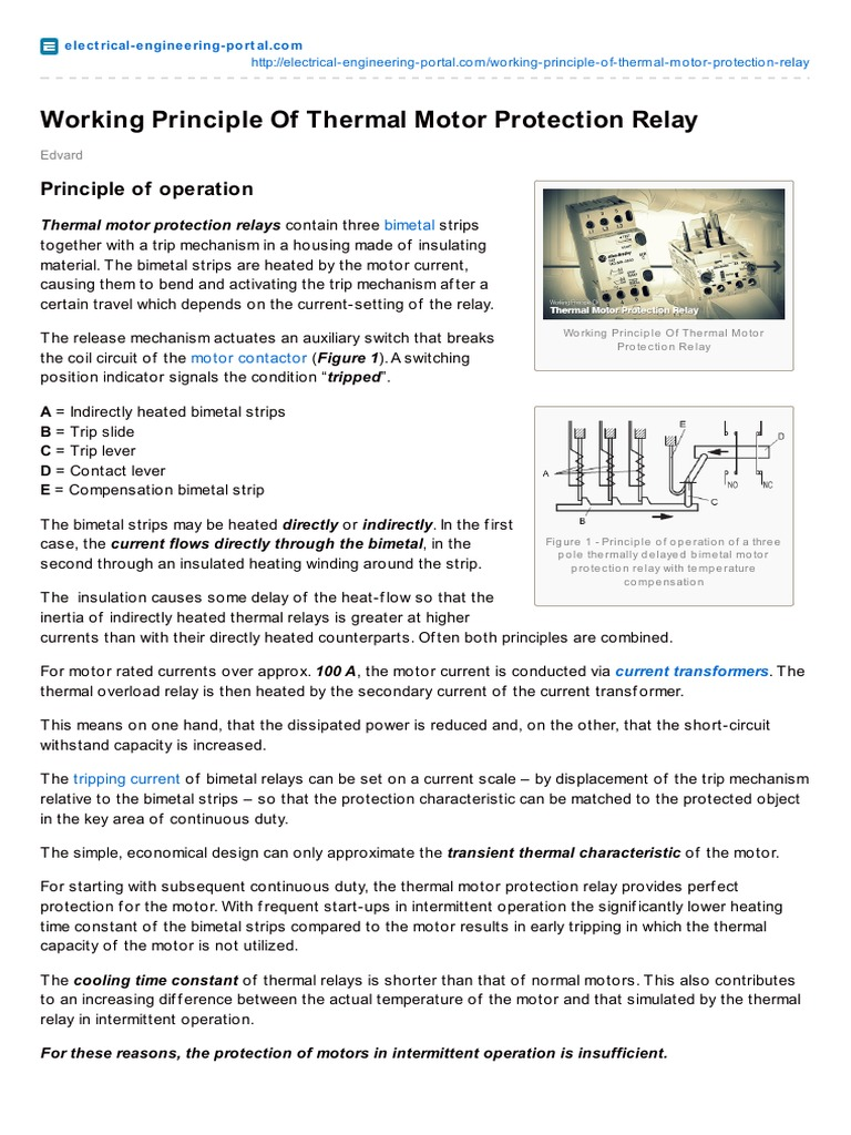 Thermal relay - design and principle of operation 83