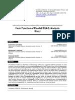 Hash Function of Finalist SHA 3 Analysis Study