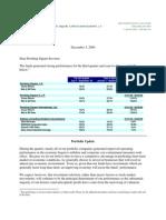 Q3 2009 Investor Letter