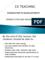 Mock Teaching Intro to Solar Electricity