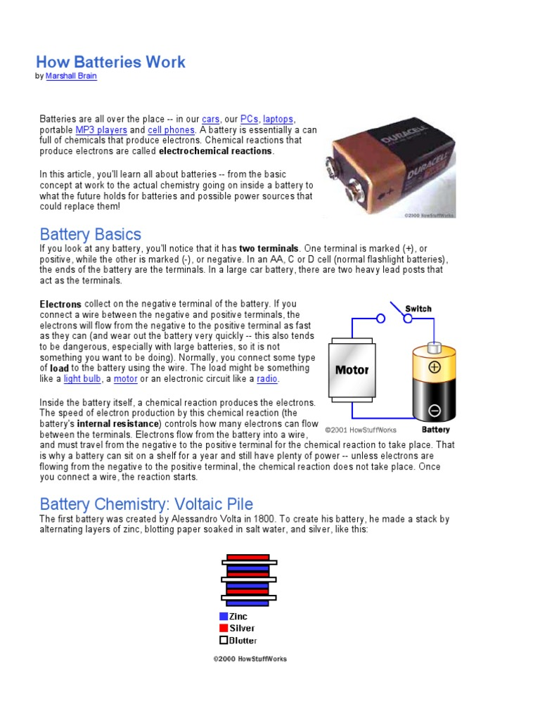 How Are Batteries Made >> Battery The Cell Chemistry Battery Electricity
