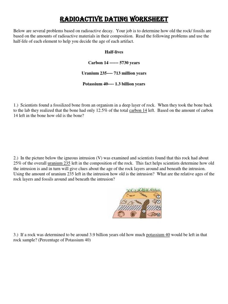 dating fossils worksheet