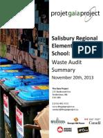 Salisbury Regional Elementary School - Waste Audit Summary of November 20th 2013